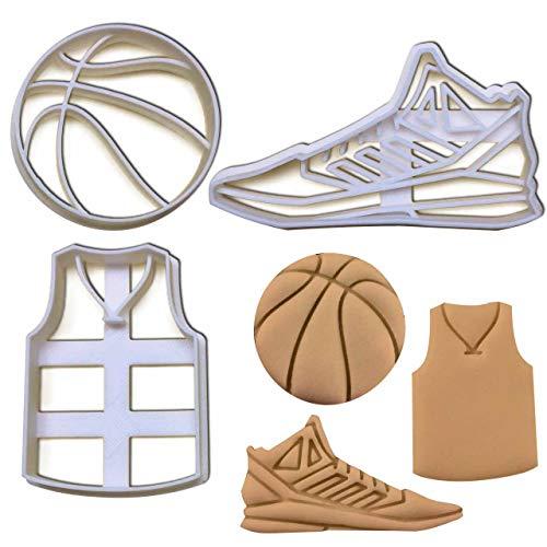 Bakerlogy 3er Set Basketball Ausstechformen (Formen: Basketball, Trikot und Schuh), 3 Teile -