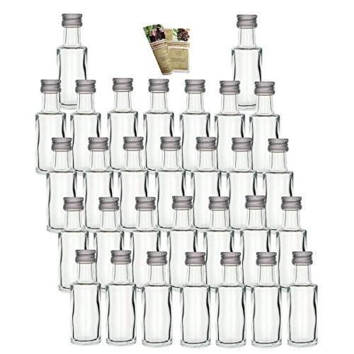 30 Leere Mini Glasflaschen Dora 20 Ml Glasflschchen Kleine Flaschen Incl Schraubverschluss Likrflaschen Zum Selbst Abfllen Schnapsflaschen Essigflaschen Lflaschen