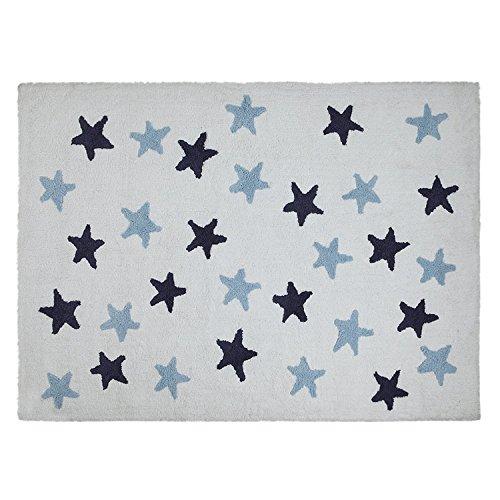 Lorena Canals Messy estrellas alfombra lavable (azul/azul marino/blanco)