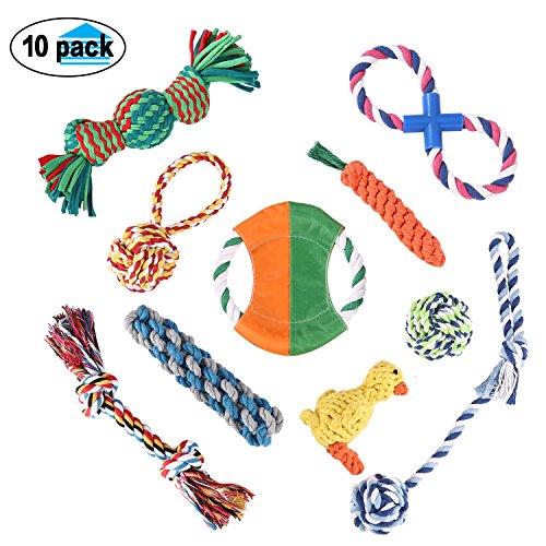 Magicpeony 10pcs Baumwollknoten Interaktive Kauenhund Ropes Toys, Flying Disc, Ente, Squeak Zahnen Spielzeug für kleine mittlere und große Hunde (Flying Disc Spielzeug)