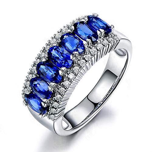 Anello fidanzamento donna argento 925 blu zirconi anello fidanzamento principessa misura 23,5