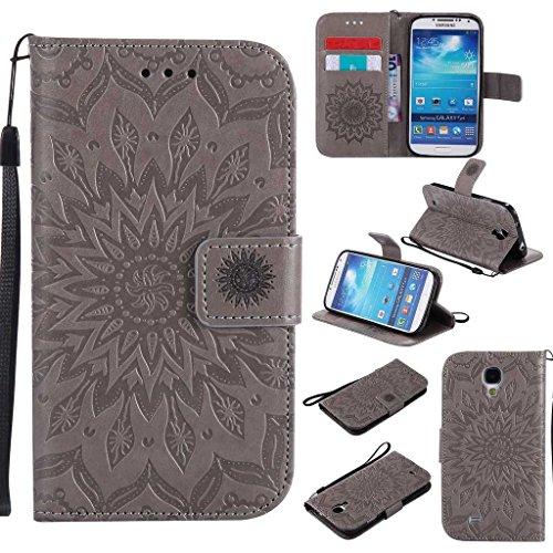 BoxTii Coque Galaxy S4, Etui en Cuir de Première Qualité [avec Gratuit Protection D'écran en Verre Trempé], Housse Coque pour Samsung Galaxy S4 (#2 Gris)