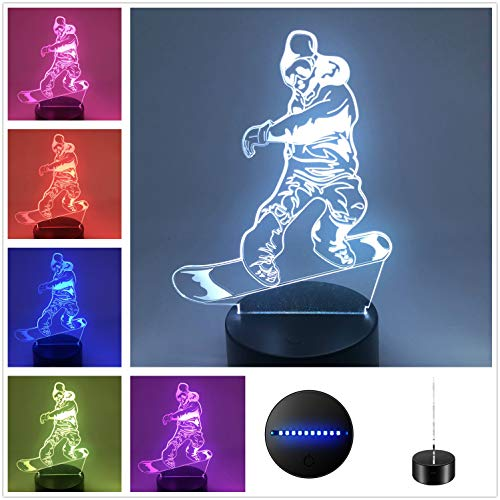 DowBier 3D Illusion Multi Color USB Schlaf-Nachtlicht Schreibtisch Lampe Zimmer Dekoration Art Deco Snowboard Black Base