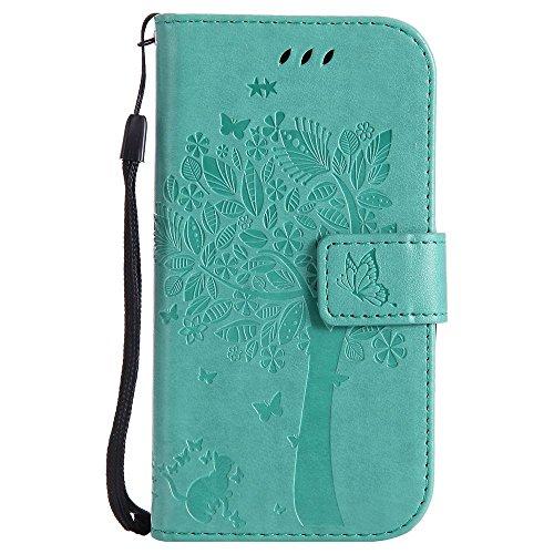 LG G4c Hülle Leder Handytasche Karikatur Katze & Baum Relief Muster, Elegant Handyhülle für LG G4c Flip Magnetisch Schutzhülle Ledertasche Schutz Tasche Brieftasche, Grün