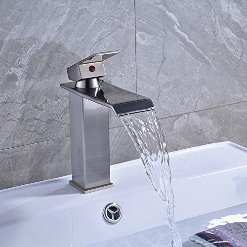 Wasserhahn Wasserfall Becken Tap Single Leveragebathroom Waschbecken Eitelkeit Mixer Hahn Mit Heißem Und Kaltem Wasser 7896 Pinsel Nickel