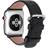 Fullmosa kompatibel Apple Watch Armband 38mm (Series 4 40mm) Leder in 15 Farben, Armband Apple Watch 38mm/40mm Series 4 Series 3 mit Edelstahlschließe für iwatch Series 4 3 2 1,Schwarz 38mm/40mm