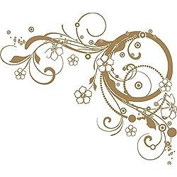 GRAZDesign 560016_50_081 Wandtattoo Ornament | Blumentattoo für Wohnzimmer - Schlafzimmer - Küche | Blumenranken und Pflanzen an die Wand als Wand-Aufkleber (58x50cm//081 hellbraun)