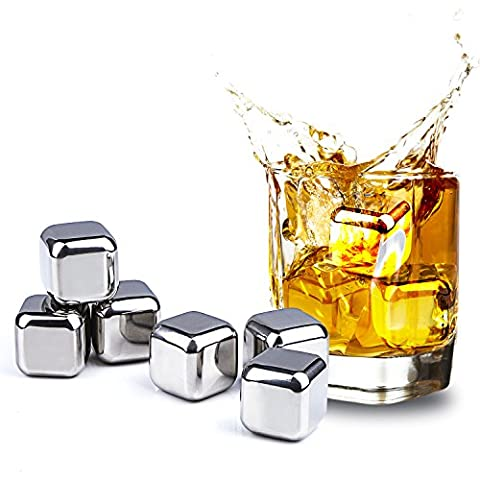 Set of 8 Whiskey Stones, Tpfocus Stainless Steel Ice Cube Cooling Rocks with Ice Clips, Reusable Whiskey Beer Chilling Rocks with Tray & Tong for Party, Cocktail
