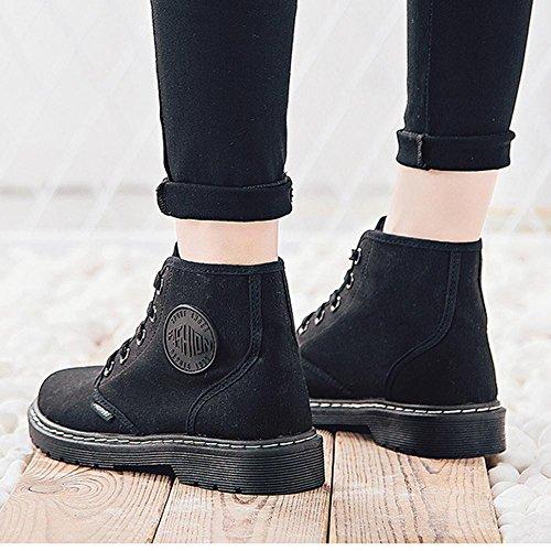 donne Martin Short stivali tacco piatto caldo con laccio alla caviglia casual sport scarpe di tela, PINK-35 BLACK-40