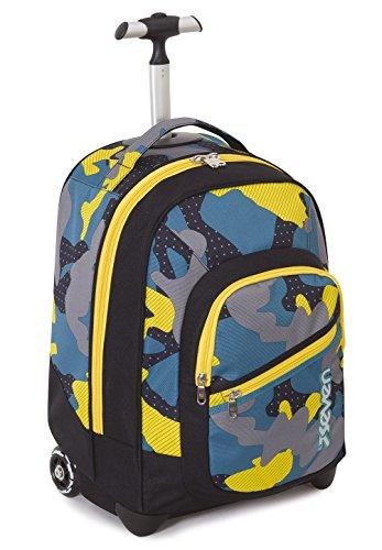 Trolley fit - seven - mimetical - 2in1 - zaino con spallacci a scomparsa - camouflage nero giallo 35lt