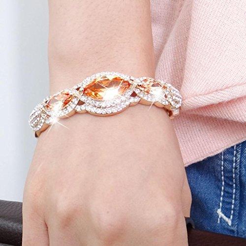 EVER FAITH® Cristal Cubic Zirconia Forme Marquise Bracelet Manchette Brun