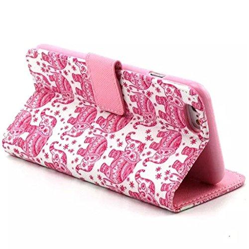 Gift_Source iPhone 6 hülle, iPhone 6S hülle, Brieftasche Ledertasche Bookstyle Schutzhülle Leder Flip case Etui for Apple iPhone 6S/6 4.7 inch [ Regenbogen ] E01-01-Pink Tribal Elephant