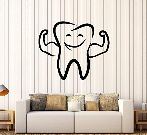 Qsdfcc Lustige Zahn Lächeln Wandtattoo Vinyl Für Badezimmer Wohnkultur Wand Kunst Zahnarzt Stomatologie Zahnklinik Zeichen Wandaufkleber 51cx42 cm (Halloween Zahnarzt Lustig)