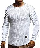 LEIF NELSON Herren-Strickpullover Woll-Pullover Rundkragen | Moderner Pullover Sweatshirt | LN5705; L; Ecru-Grau