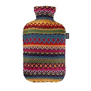 Fashy 6757 25 2007 Wärmflasche mit Bezug im Peru – Design 2.0 L, braun – rosa