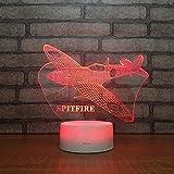 ZHHSJJ 3D LED Nachtlicht Flugzeuge Illusion Lampe Schlummerlicht Deko Lampen Nachttischlampen 7-Farben ändern Touch Tisch Schreibtisch Lampe mit Acryl Platte & ABS Base & USB Ladegerät