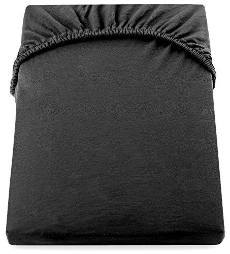 DecoKing 18385 80x200-90x200 cm Spannbettlaken schwarz 100% Baumwolle Jersey Boxspringbett Spannbetttuch Bettlaken Betttuch Black Nephrite Collection - 5