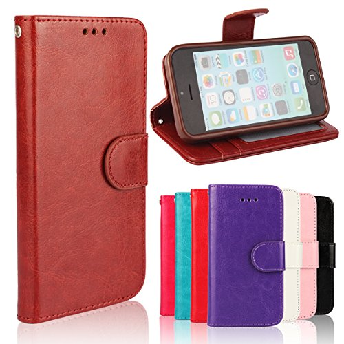 iPhone 5C Case, [Wallet Function] [Stand Feature] Vintage Crazy Horse Premium Leather Case, Flip Folio Book Cover with Magnetic Closure [Cash Pocket & 3 Credit Card Holders] (Rose) Rose