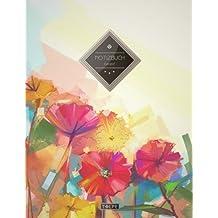 """TULPE Kariertes Notizbuch A4 """"C150 Bunte Blumen"""" (140+ Seiten, Vintage Softcover, Doppelrand, Seitenzahlen, Register - Dickes Notizheft, Matheheft, ... Schulheft, Tagebuch, Kariertes Heft Nr 26)"""