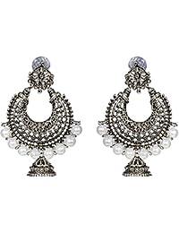 Rapidcostore Silver Alloy Jhumki Earring, Chandbali Earring, Tunnel Earring, Tassel Earring, Drop Earring, Hoop...