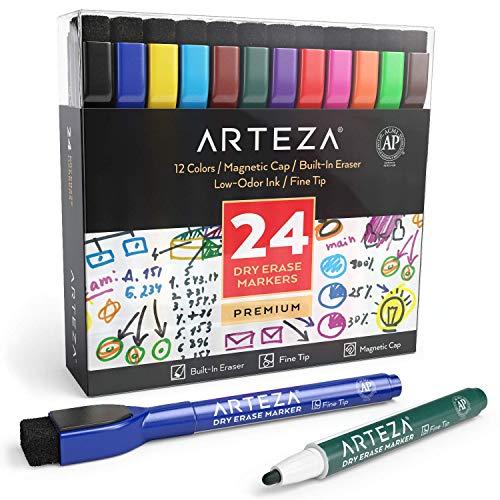 ARTEZA Whiteboard-Marker mit Feiner Spitze | Marker-Set mit 24 Farbigen Whiteboard-Stiften | Trocken Abwischbar von Magnettafeln | Magnetische Kreidemarker mit Filz-Radierer für Büro oder Schule (Dry Lehrer Board Erase)