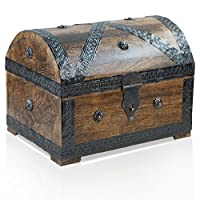 Brynnberg - Pirate Treasure Chest Storage Box - Durable Wood & Metal Construction - Unique, Handmade Vintage Design With A Front Lock - Striking Decorative Element - The Best Gift (Pirat L dunkel 28x20x20cm)