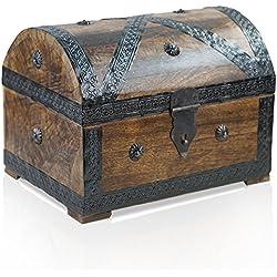 Gran Cofre piratas de madera para almacenaje, 28x 20x 20cm.