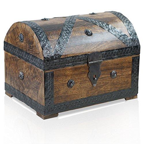 Thunderdog Pirat L dunkel - große Piraten-Schatztruhe 28x20x20cm Schatzkiste Holz-Truhe