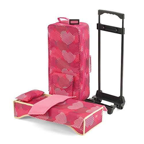 18-inch Doll Accessories | Travel Carrier with Trolley + Backpack Straps and Doll Bed | Fits American Girl Dolls
