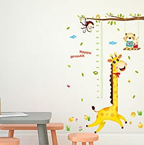 Amazon Brand - Solimo Wall Sticker for Kids' Room (Happy Growth Giraffe, Ideal Size on Wall: 126 cm x 183 cm)