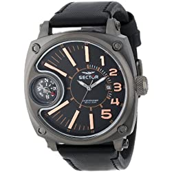 Sector Men's Quartz Watch with Grey Dial Analogue Display and Black Leather Strap R3251207004
