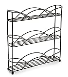 Sturdy Design 3 Tier Freestanding Spice & Herb Rack- Store up to 21 Spice Or Herb Bottles (Black)