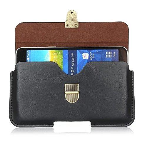 iPhone Case Cover Geniune Ledergürtel-Beutel-Beutel-Normallack-Fall für Samsung-Apple iPhone Handys ( Color : Black , Size : 5.5''(17*9cm) ) Black