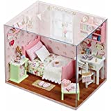 Doll House - Sunshine Angel Themed Dollhouse Miniature DIY House Kit Creative Room With Furniture & Accessories - Perfect DIY Gift For Kids, Children, Teens, Friends, Families, Birthday/Valentine's Day By KARP - Pink Color