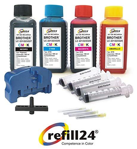 Kit de Recarga para Cartuchos de Tinta Brother 221, 223, 225XL, 227XL, 229XL Negro y Color, Incluye reseteador, Adaptador y Accesorios
