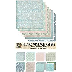"Paper Pack (24sh 6""x6"") Frosty Winter Ice Patterns FLONZ Vintage Paper for Scrapbooking and Craft"