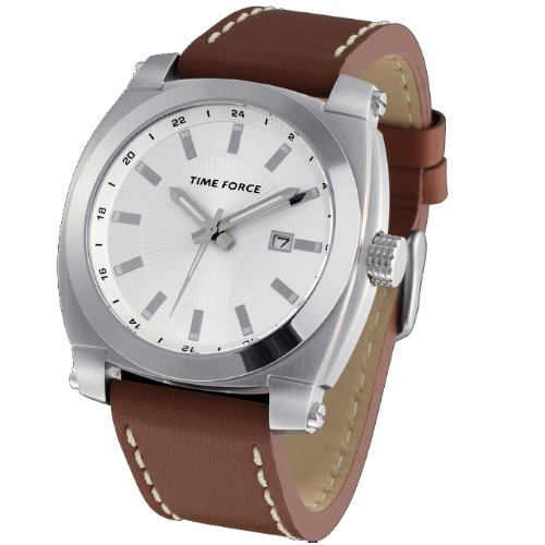 Montre Time Force de hommes étanche. Acier Bracelet de Cuir. Calendrier marron. tf-3260m02