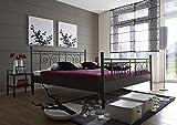 SAM® Metallbett 160x200 cm Rosario, Bettgestell schwarz, filigrane Verzierungen, Blickfang für Gästezimmer Schlafzimmer