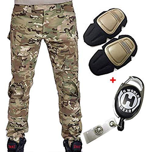 H Welt EU Militär Armee Taktische Airsoft Paintball Schießen Hosen Kampf Männer Hosen mit Knie Pads, Gr.-M/ W-32, Multicam - Hose Knieschoner