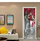 MVBGLK 3D Door Sticker Small Stone Road Diy Mural Selfadhesive Wallpaper Removable Waterproof Poster Stickers Home Decor Decals-77x200cm