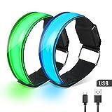 USB LED Brazalete, Waitiee USB Recargable Brazaletes Reflectantes Led Wristbands Safety Light, 2 Piezas de luz LED para correr para Todos los deportes al aire libre Correr, Caminar perros, Ciclismo (2pcs usb rechargeable)