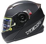 YEMA YM-925 Flip Front Double visor Motorcycle Helmet-Matt Black,Medium