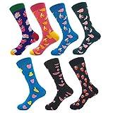 YoungSoul 7 pares calcetines estampados hombre mujer, Calcetines divertidos de algodon, Calcetines de colores de moda 02