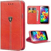 Funda Galaxy S5,S5 Funda con tapa libro piel y TPU cartera cover Funda de cuero carcasa bumper protectores estuches soporte flip Case para Samsung Galaxy S5 / Neo rojo