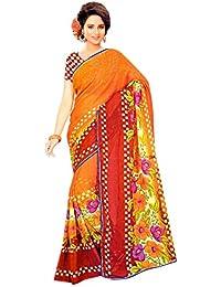 The Wardrobe Women's Georgette Saree(Wardrobe012_Multi-Coloured_Free Size)
