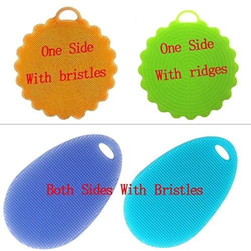4PC Silicone Dishwashing Brush, Indexp Multifunctional Soft Mildew-Free Antibacterial Sponge Scrubber Heat Resistant Kitchen Kettle Fruit Cleaning Coaster Tool