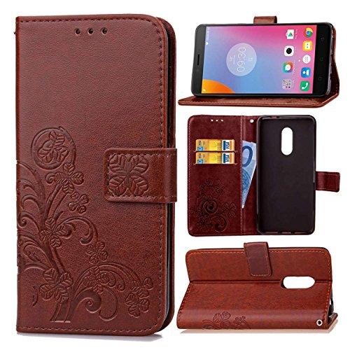 Guran® PU Ledertasche Case für Lenovo K6 Note (5,5 Zoll) Smartphone Flip Cover Brieftasche und Stent Funktionen Hülle Glücksklee Muster Design Schutzhülle - Braun