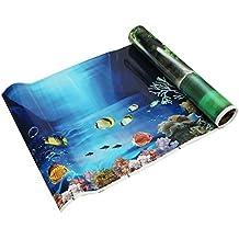 SODIAL(R) Fondo fresco del mar azul Poster de paisaje del oceano de acuario