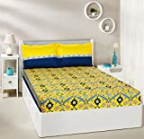#8: Amazon Brand - Solimo Imperial Trail 144 TC 100% Cotton Double Bedsheet with 2 Pillow Covers, Yellow and Navy Blue