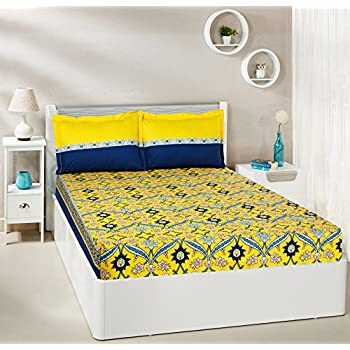 Amazon Brand - Solimo Imperial Trail 144 TC 100% Cotton Double Bedsheet with 2 Pillow Covers, Yellow and Navy Blue